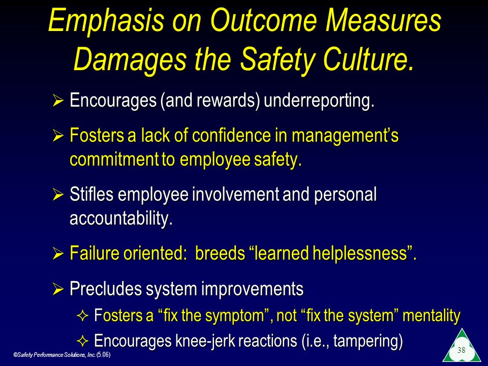 Emphasis on Outcome Measures Damages the Safety Culture.
