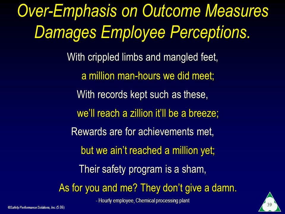 Over-Emphasis on Outcome Measures Damages Employee Perceptions.