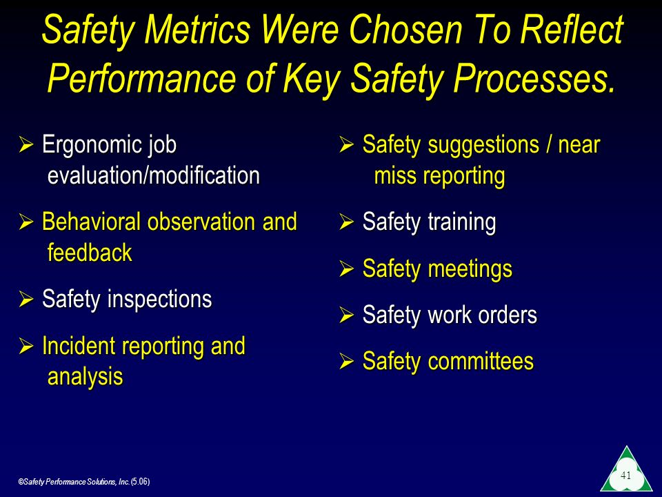 Safety Metrics Were Chosen To Reflect Performance of Key Safety Processes.