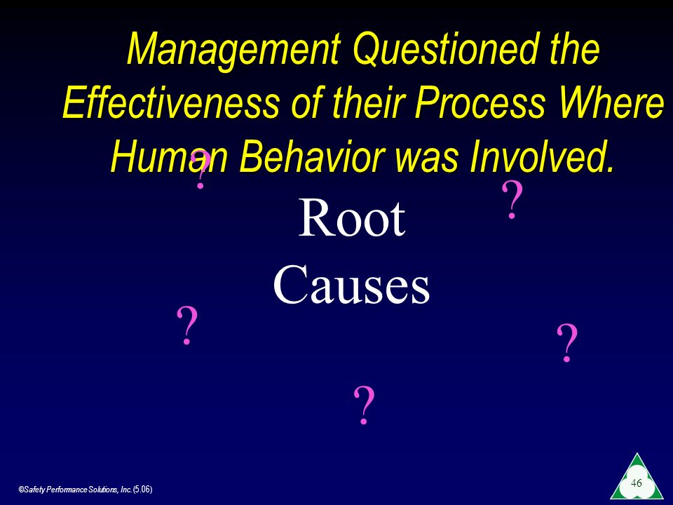 Management Questioned the Effectiveness of their Process Where Human Behavior was Involved.