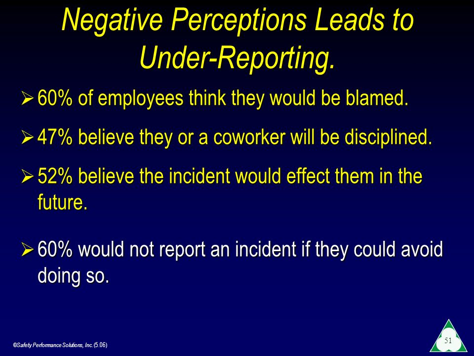 Negative Perceptions Leads to Under-Reporting.