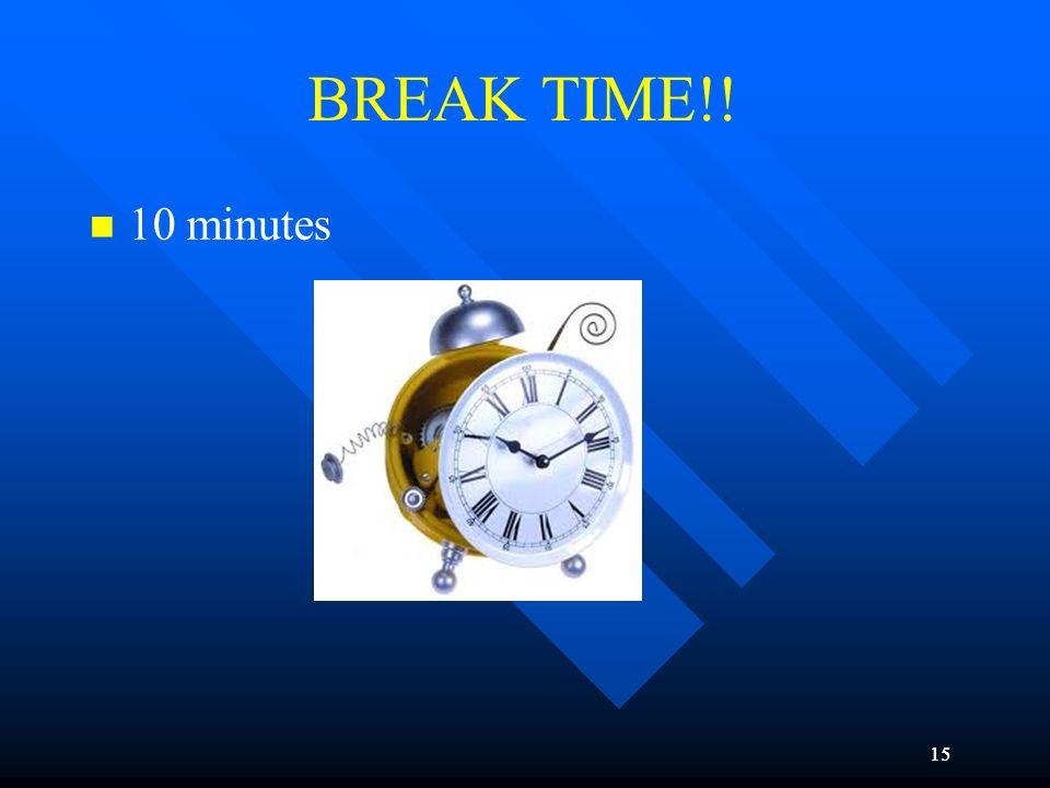 BREAK TIME!! 10 minutes 15