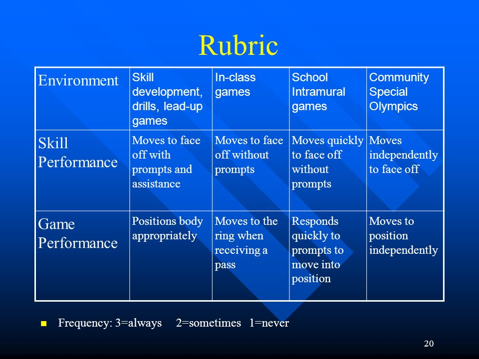 Rubric Environment Skill Performance Game