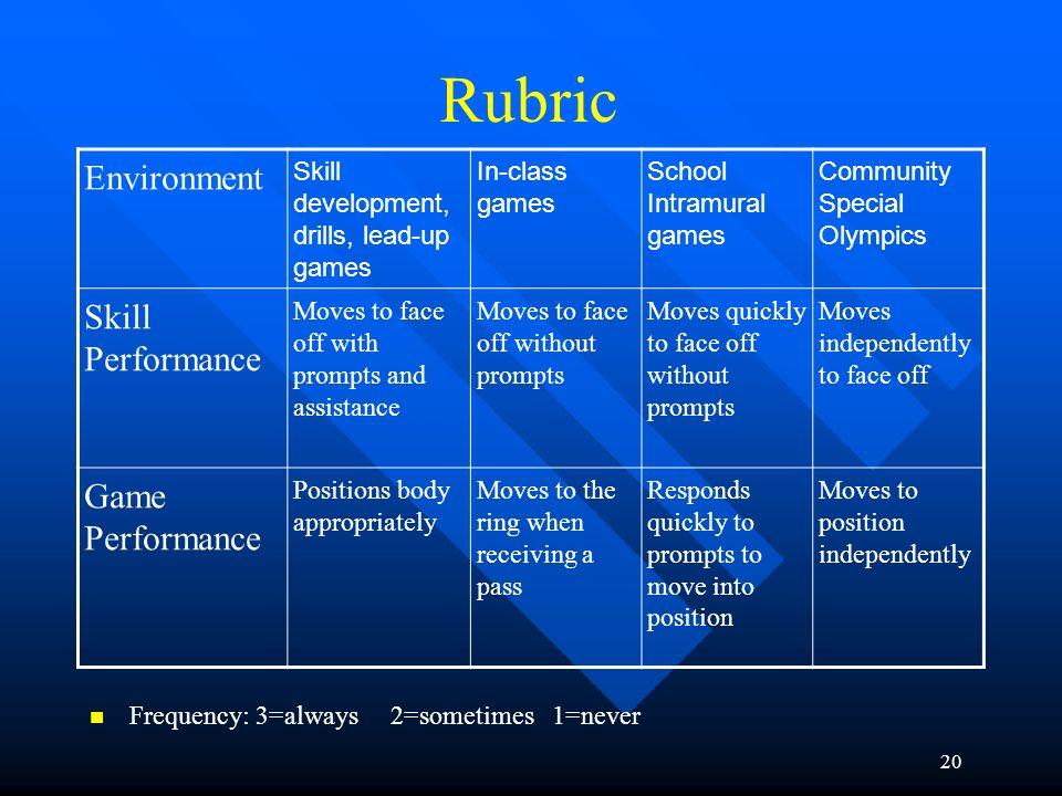 Rubric Environment Skill Performance Game