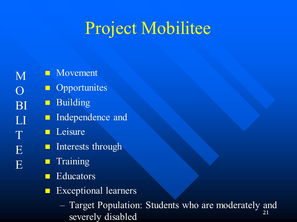 Project Mobilitee MOBILITEE Movement Opportunites Building