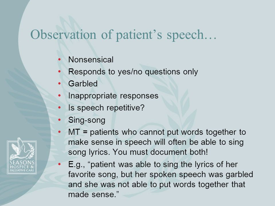 Observation of patient's speech…