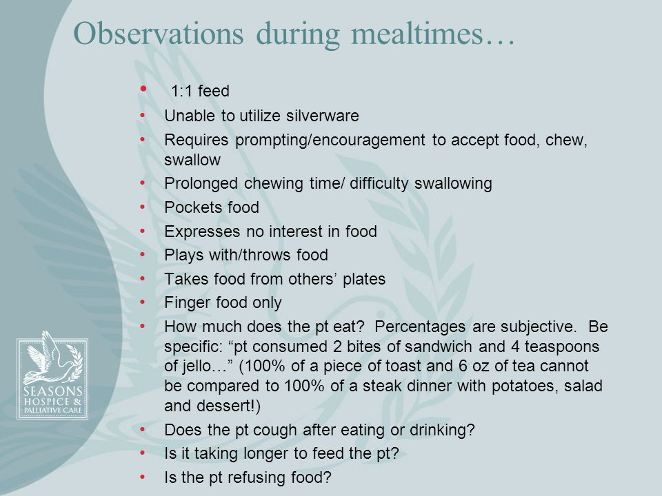 Observations during mealtimes…