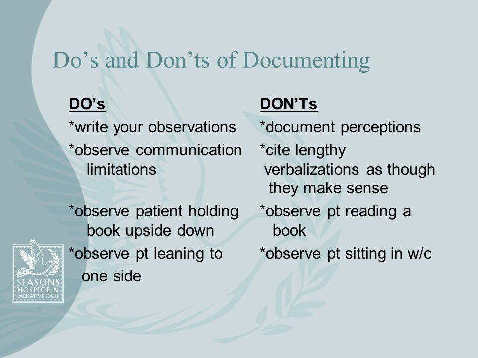 Do's and Don'ts of Documenting