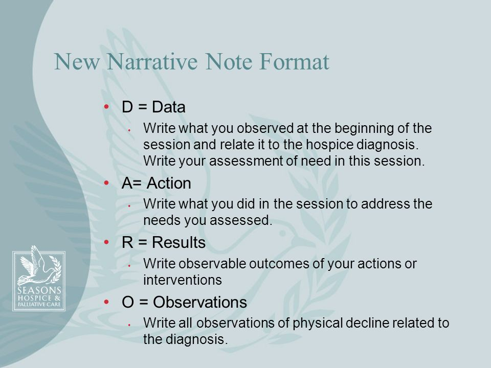 New Narrative Note Format