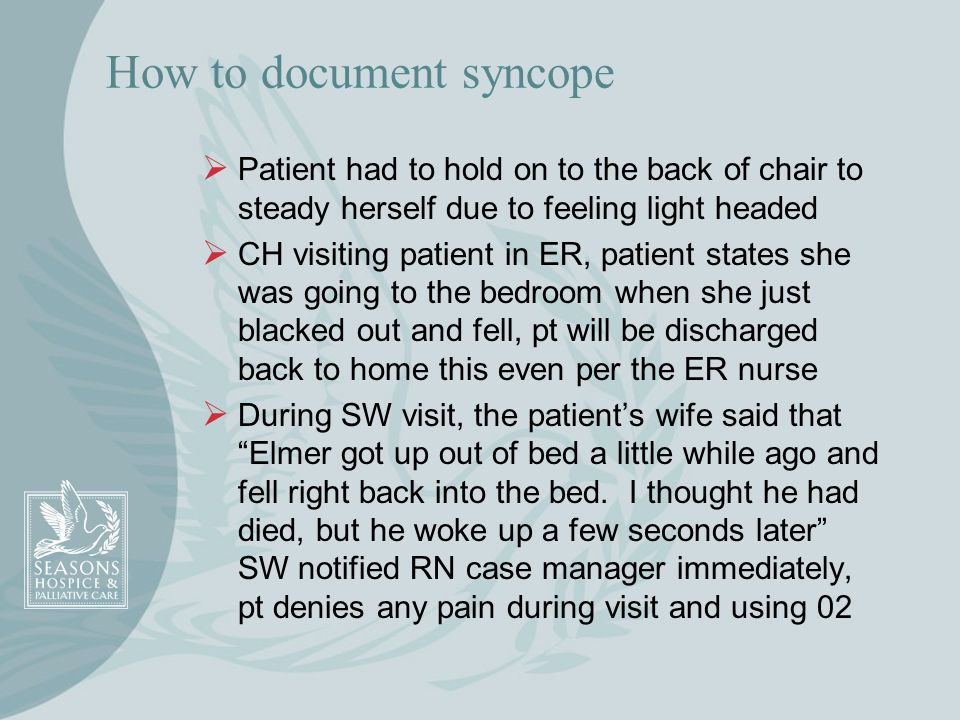 How to document syncope