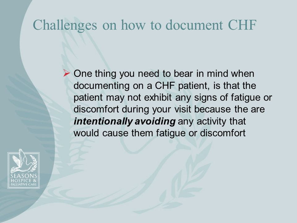 Challenges on how to document CHF
