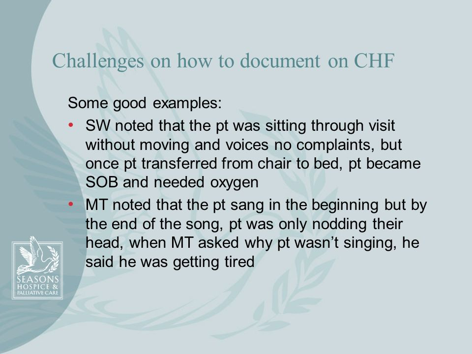Challenges on how to document on CHF