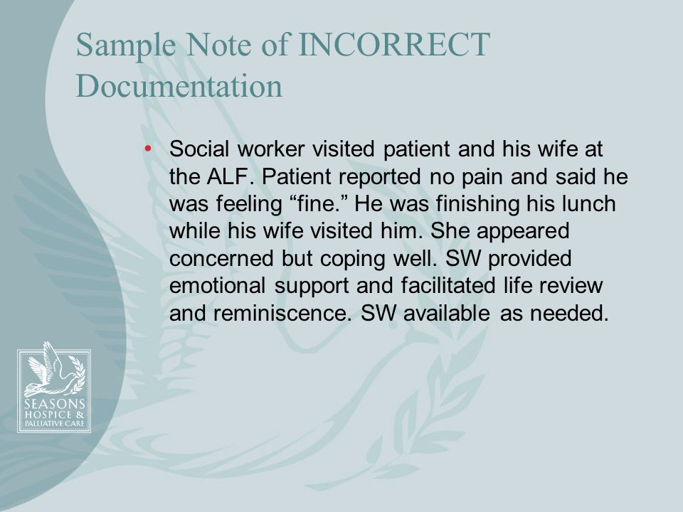 Sample Note of INCORRECT Documentation