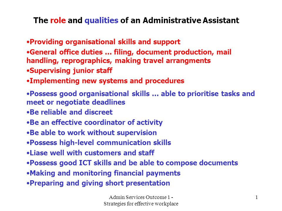 The role and qualities of an Administrative Assistant ppt video