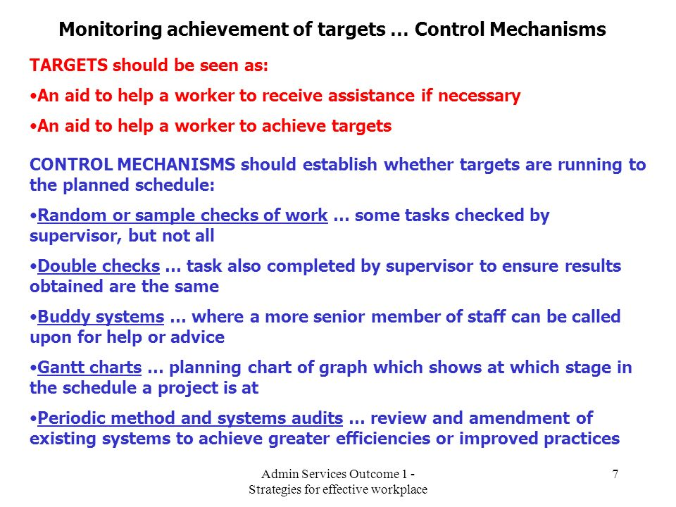 Monitoring achievement of targets … Control Mechanisms
