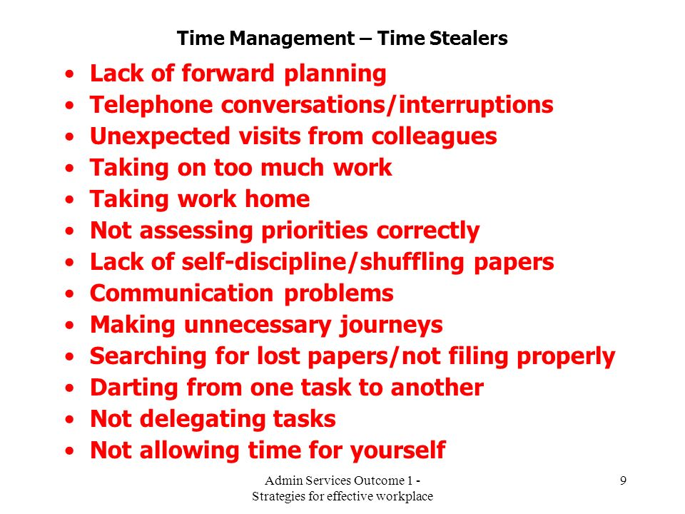 Time Management – Time Stealers