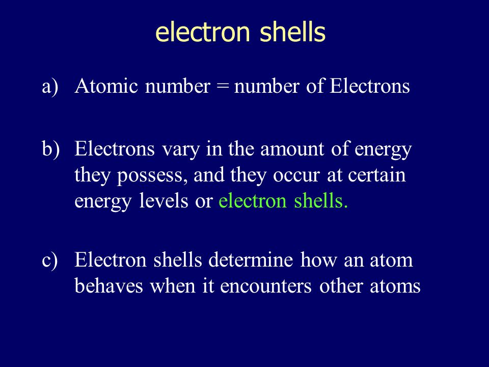 electron shells Atomic number = number of Electrons