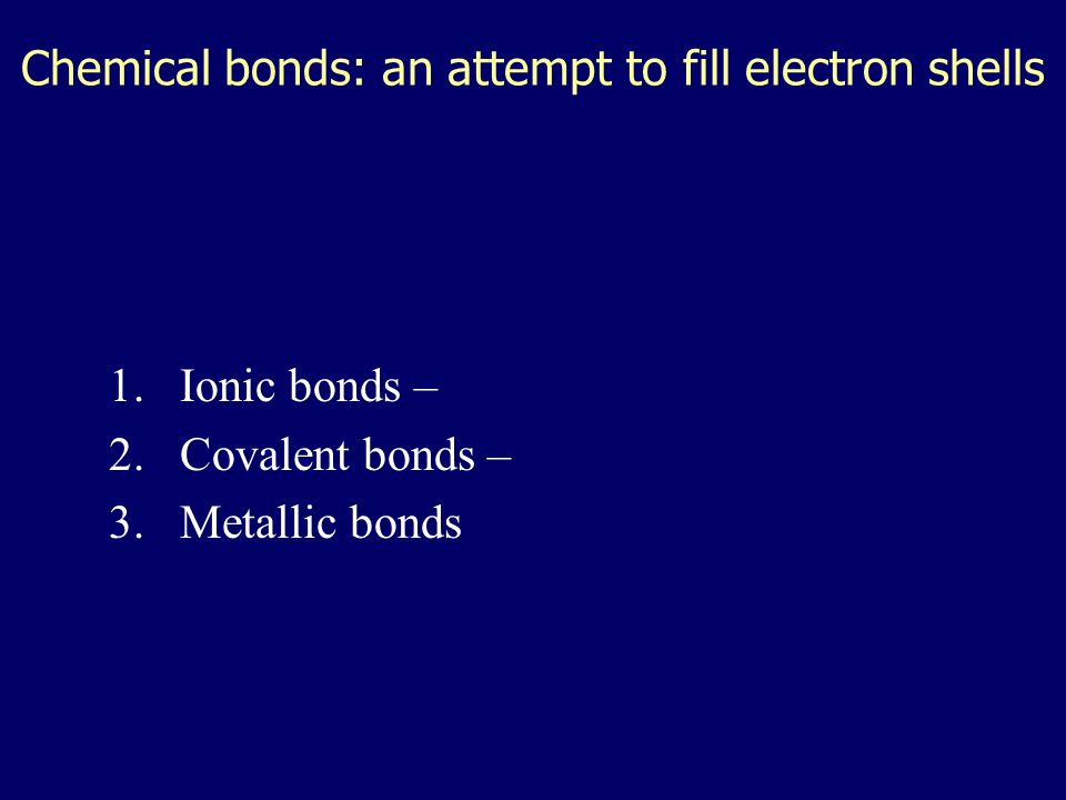 Chemical bonds: an attempt to fill electron shells