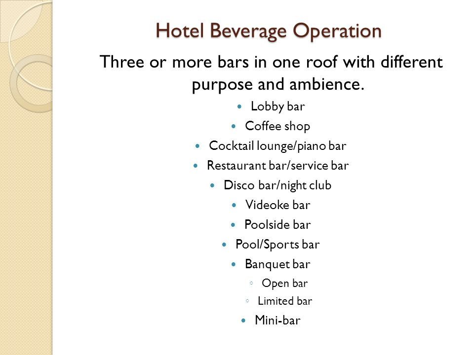 Hotel Beverage Operation