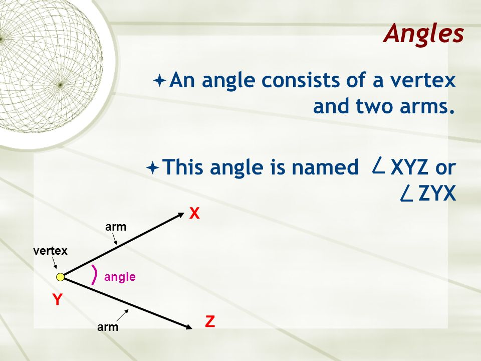 Angles An angle consists of a vertex and two arms.