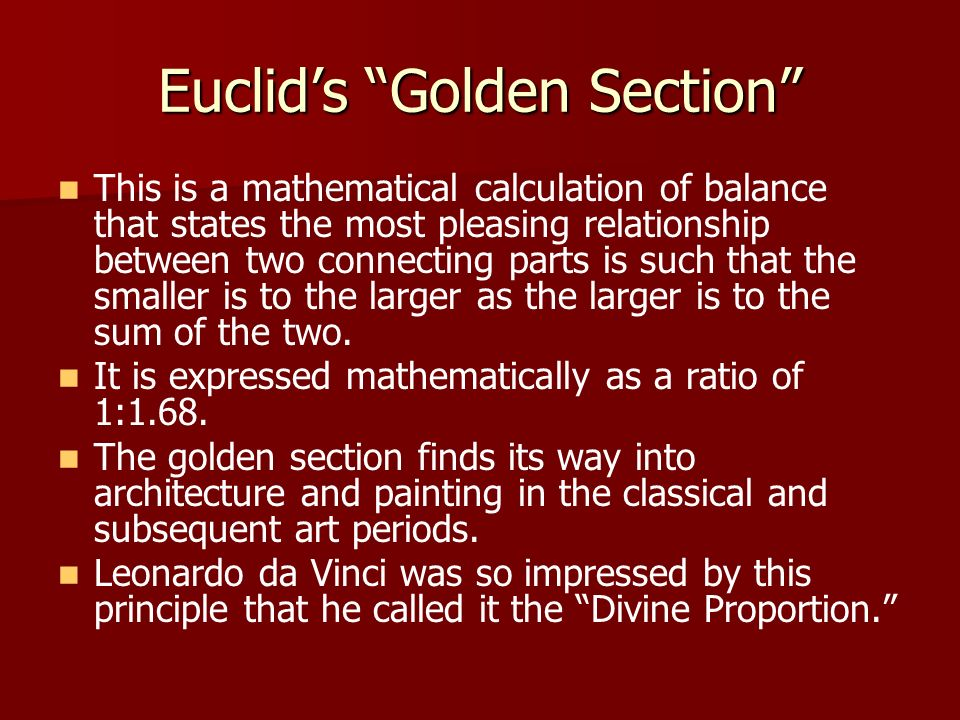 Euclid's Golden Section