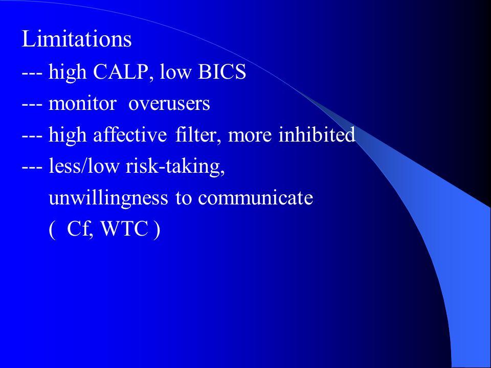 Limitations --- high CALP, low BICS --- monitor overusers