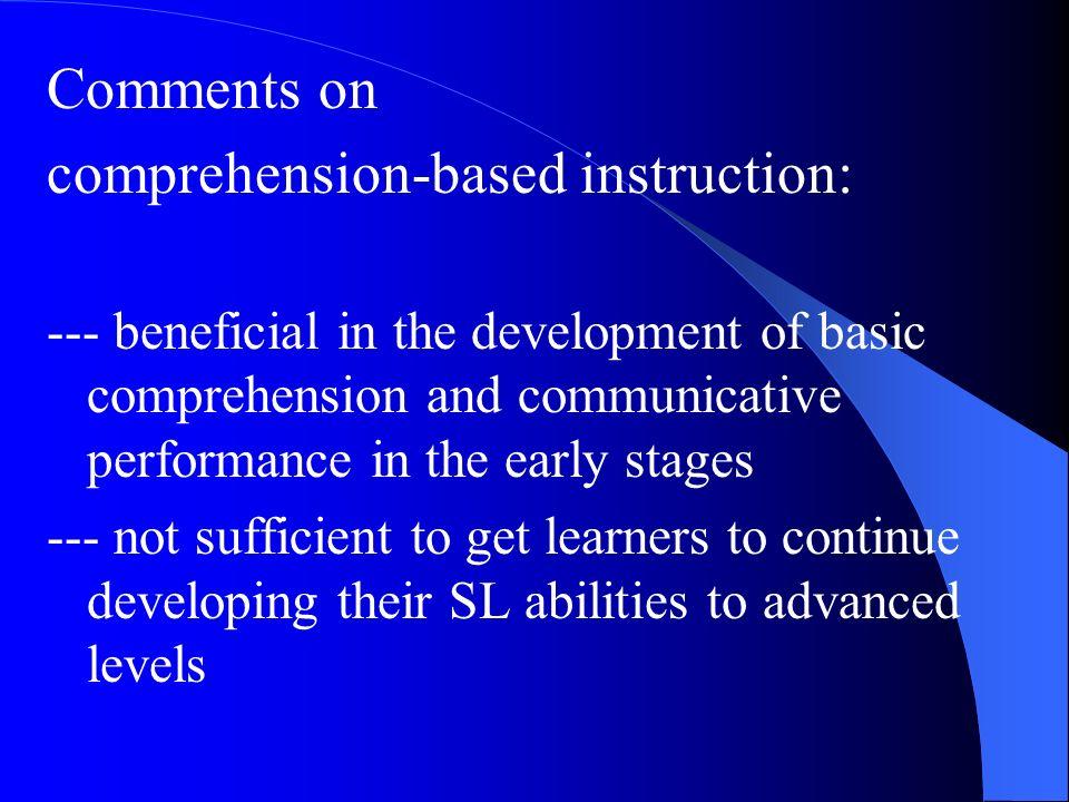comprehension-based instruction: