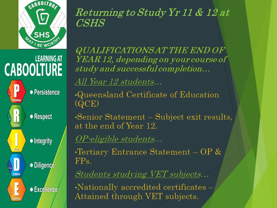 Returning to Study Yr 11 & 12 at CSHS