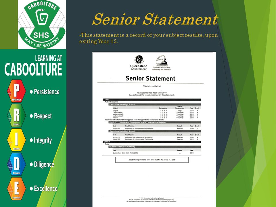 Senior Statement This statement is a record of your subject results, upon exiting Year 12.