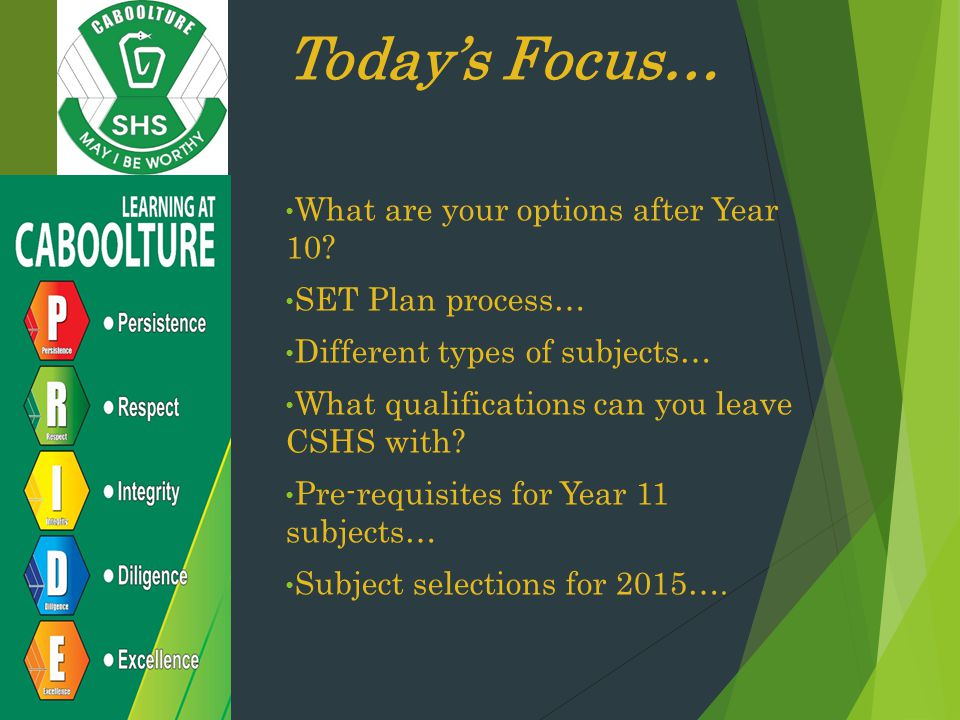 Today's Focus… What are your options after Year 10 SET Plan process…