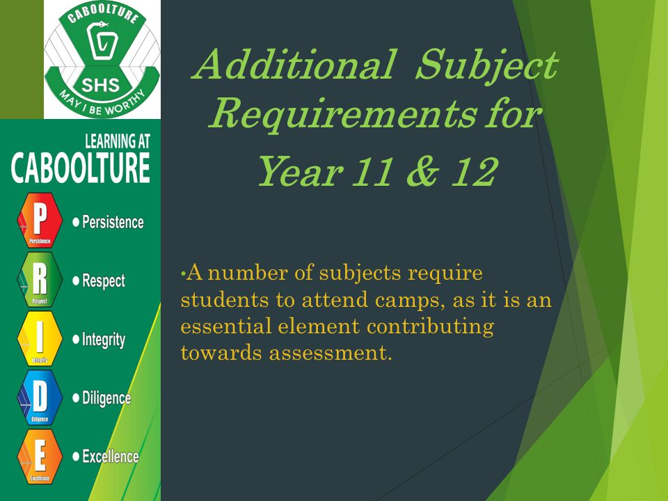 Additional Subject Requirements for