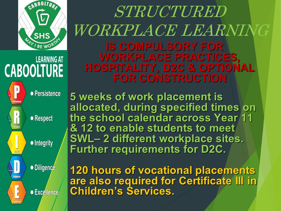 STRUCTURED WORKPLACE LEARNING