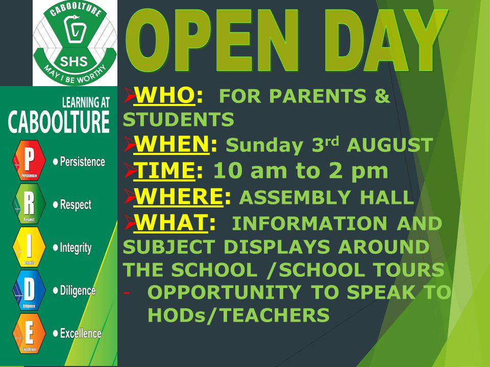 WHO: FOR PARENTS & STUDENTS WHEN: Sunday 3rd AUGUST