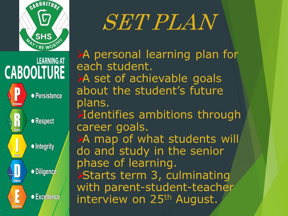 SET PLAN A personal learning plan for each student.