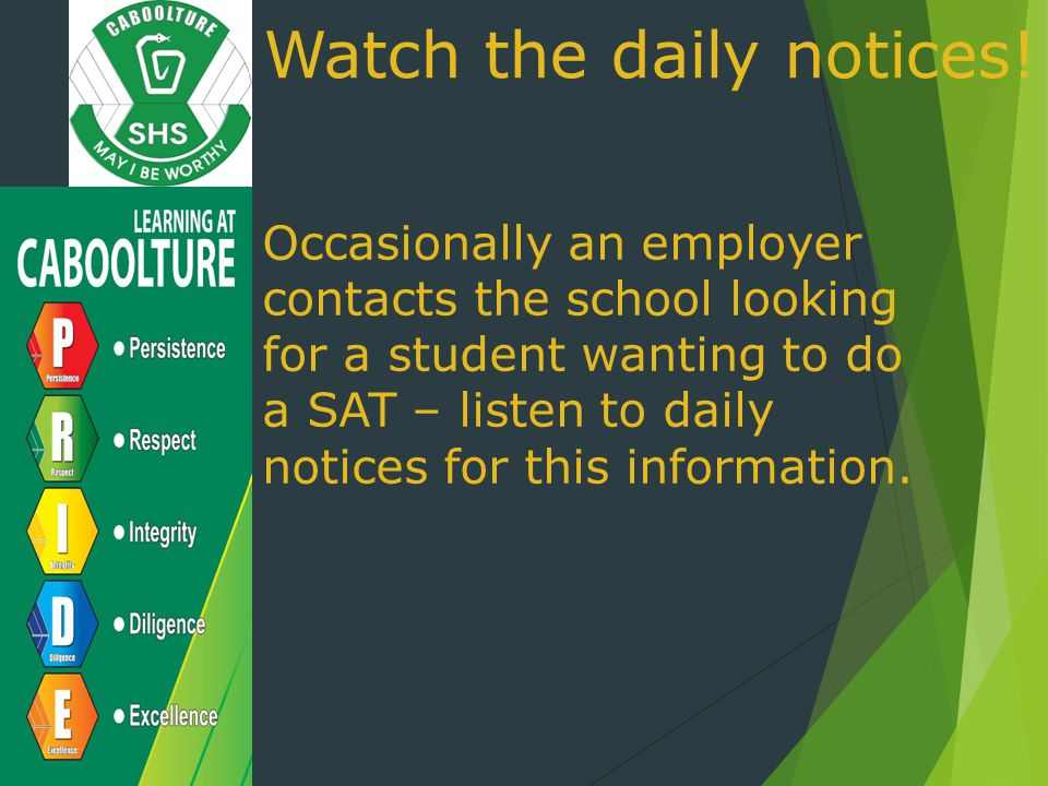 Watch the daily notices!