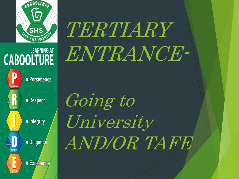 TERTIARY ENTRANCE- Going to University AND/OR TAFE