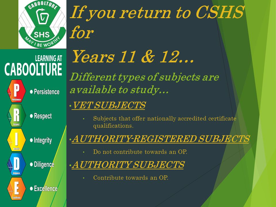 If you return to CSHS for Years 11 & 12…