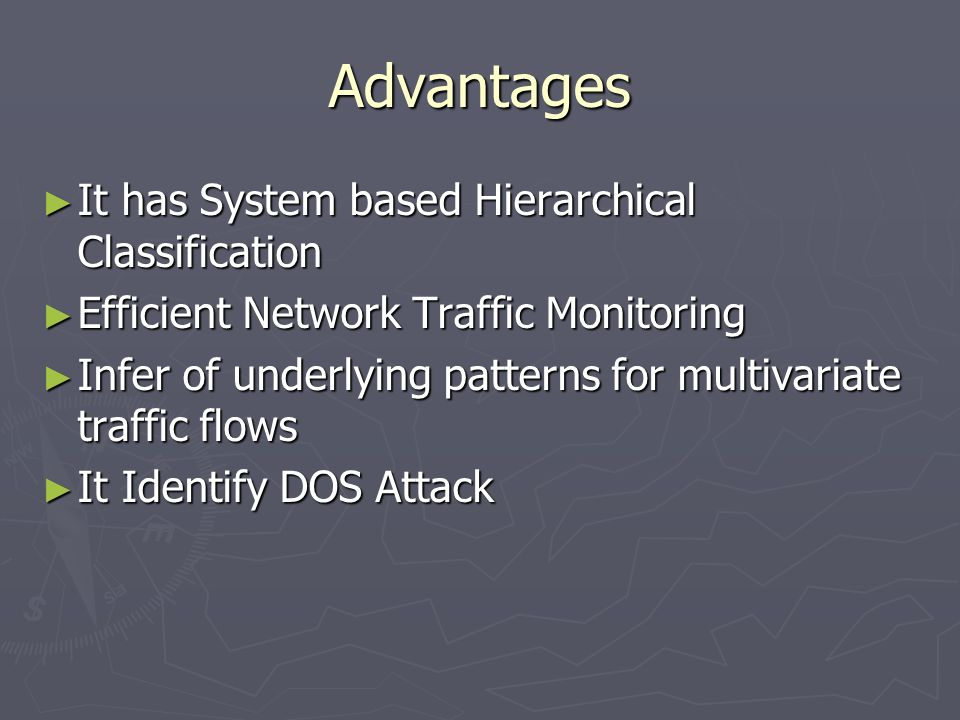 Advantages It has System based Hierarchical Classification