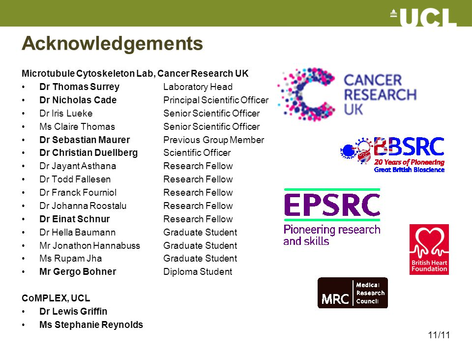 Acknowledgements Microtubule Cytoskeleton Lab, Cancer Research UK