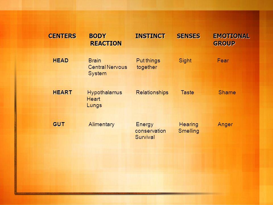 CENTERS BODY INSTINCT SENSES EMOTIONAL REACTION GROUP