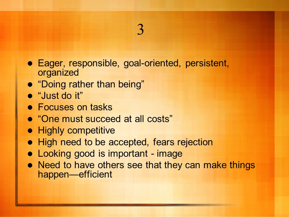 3 Eager, responsible, goal-oriented, persistent, organized
