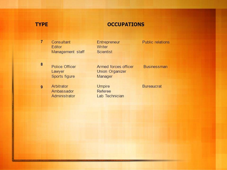 TYPE OCCUPATIONS Consultant Entrepreneur Public relations