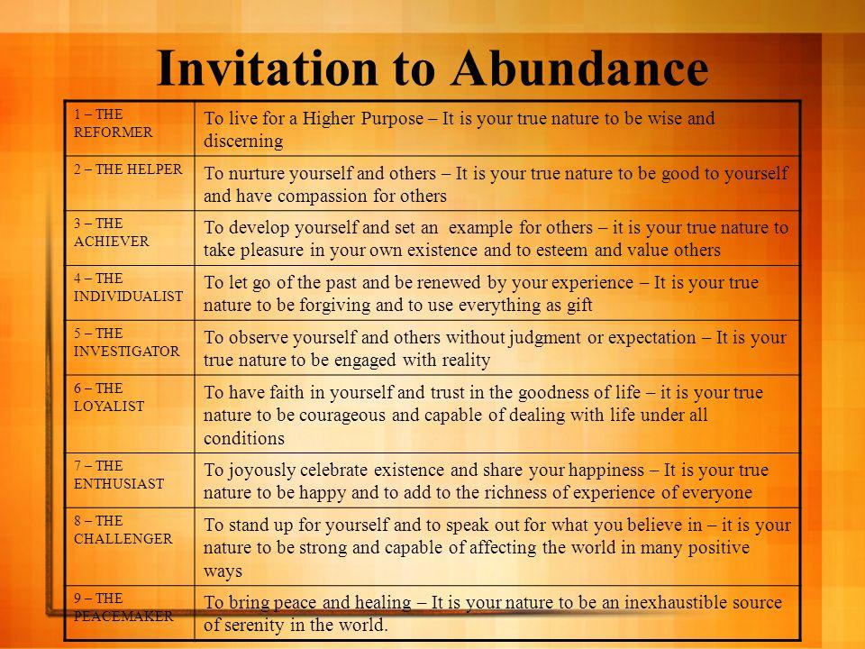 Invitation to Abundance