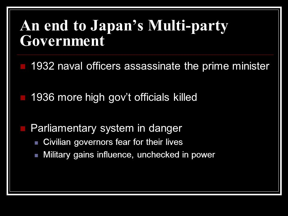 An end to Japan's Multi-party Government
