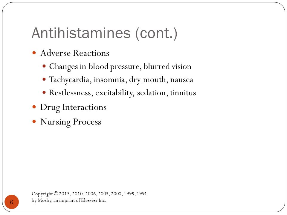 Antihistamines (cont.)