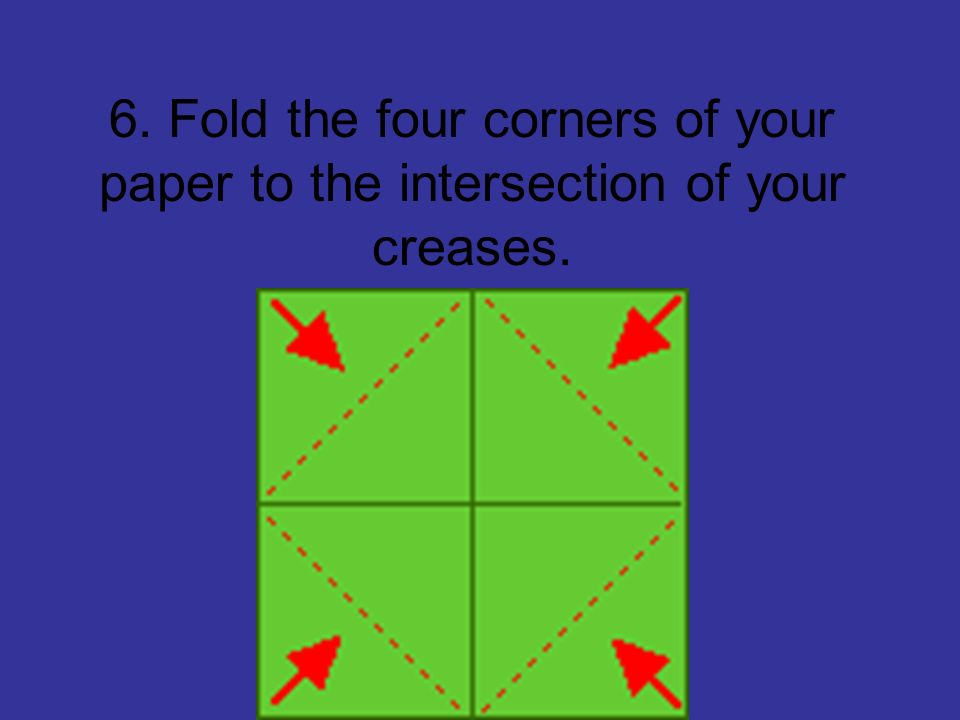 6. Fold the four corners of your paper to the intersection of your creases.