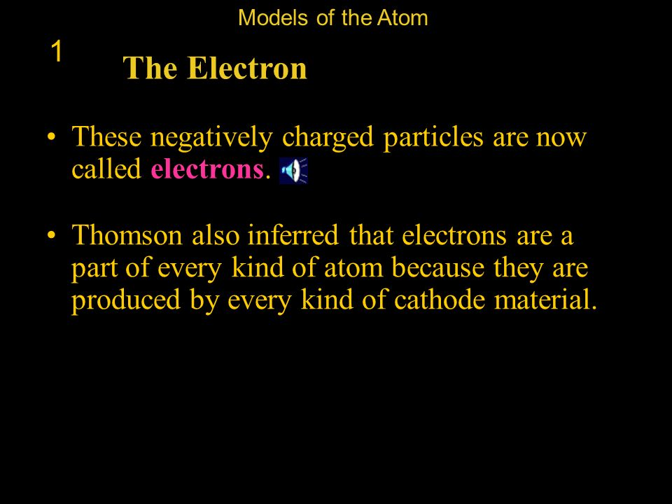Models of the Atom 1. The Electron. These negatively charged particles are now called electrons.