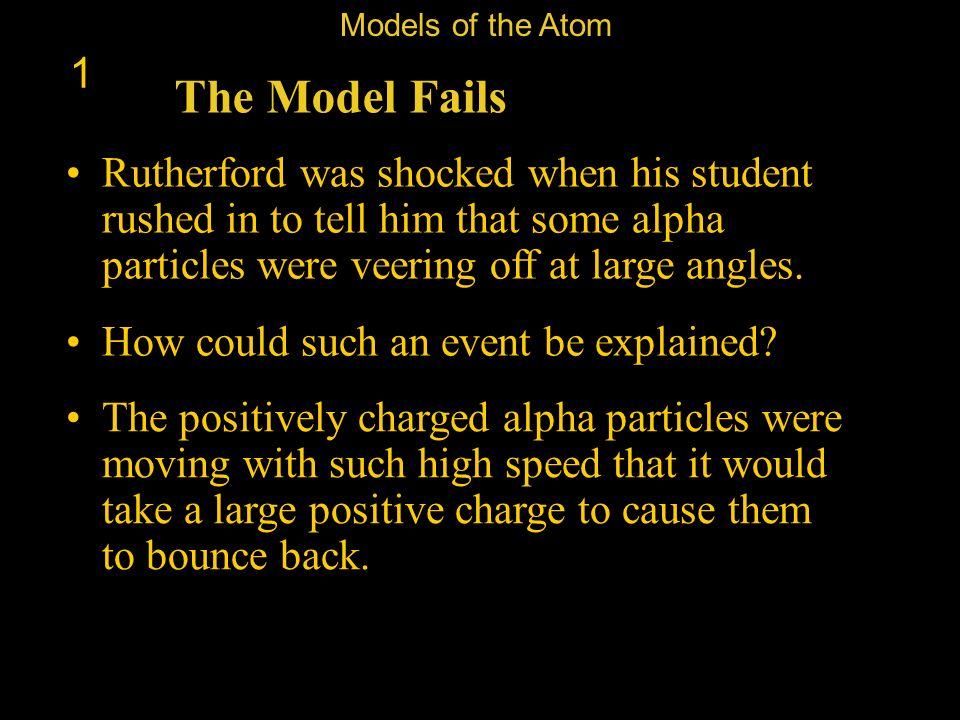 Models of the Atom 1. The Model Fails.