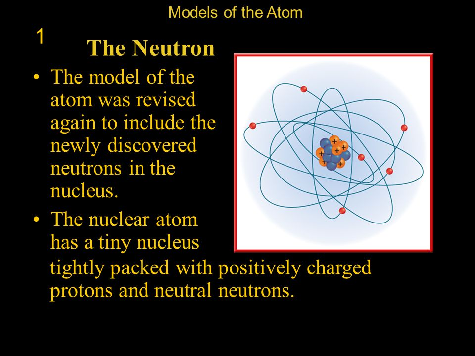 Models of the Atom 1. The Neutron. The model of the atom was revised again to include the newly discovered neutrons in the nucleus.