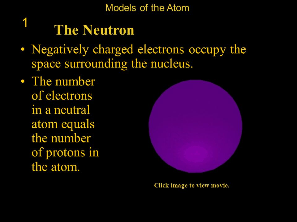 Models of the Atom 1. The Neutron. Negatively charged electrons occupy the space surrounding the nucleus.